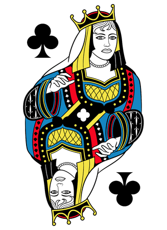 seraphic: Queen of clubs without card frame. Design inspired by french tradition. Illustration