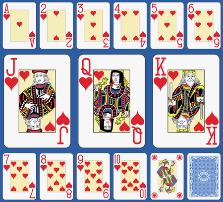 Blackjack playing cards hearts suite. Original figures double sized and inspired by french tradition.