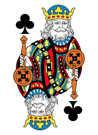 King of clubs without card frame. Design inspired by french tradition.