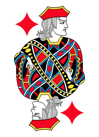 seraphic: Jack of diamonds without card frame. Design inspired by french tradition. Illustration