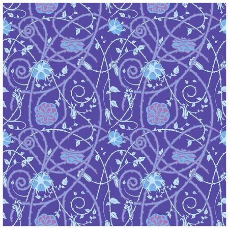 파란색 배경에 중세 플로랄 패턴. 꼰 장식품과 소용돌이. 모든 성분 이상으로 가시 식물 요소. 일러스트