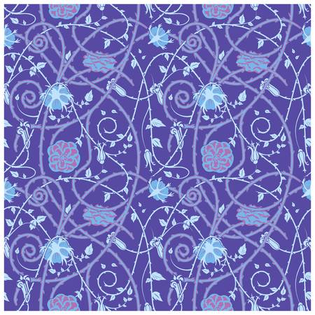 Medieval floral pattern on a blue background. braided ornaments and swirls. Thorny plant elements over all the composition.