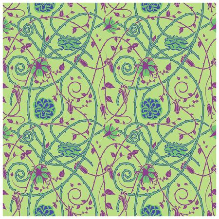 녹색 배경에 중세 꽃 패턴입니다. 꼰 장식품과 소용돌이. 모든 성분 이상으로 가시 식물 요소. 일러스트