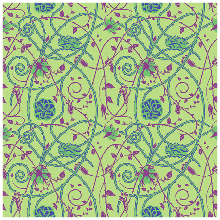 Medieval floral pattern on a green background. braided ornaments and swirls. Thorny plant elements over all the composition.