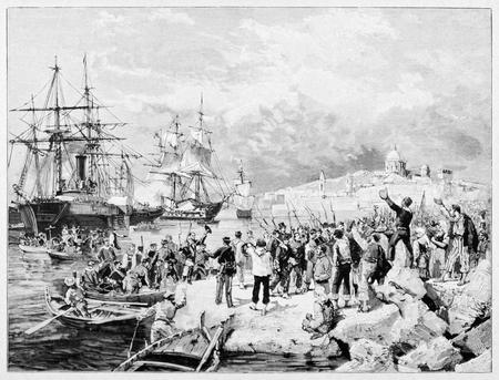 Old illustration depicting Expedition of the Thousand landing in Marsala.