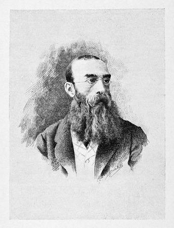 old photo: Old engraved portrait of Antonio Mosto Italian patriot. Stock Photo