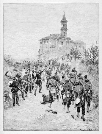 italian alpine troops: Old illustration of San Fermo battle, 1859: Garibaldi and his Alps hunters sending away Austrians from the Lombard location. Editorial