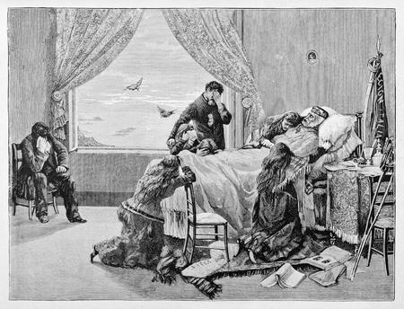 Old illustration of Garibaldi death in Caprera. Editorial