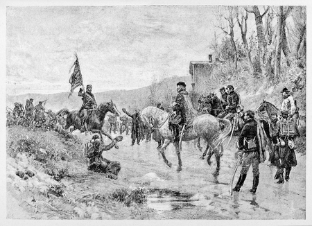 Old illustration of Ricciotti Garibaldi giving prussian flag to his father.