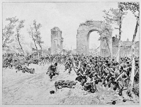 Old illustration of Bourbon troops escaping after last attack of Garibaldian red shirts in conclusion of Volturno battle. Stock fotó
