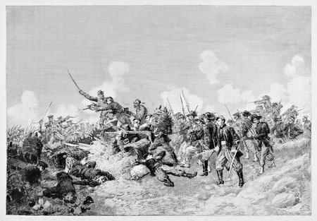 Old illustration of battle of Malakoff during Crimean war, 1855.