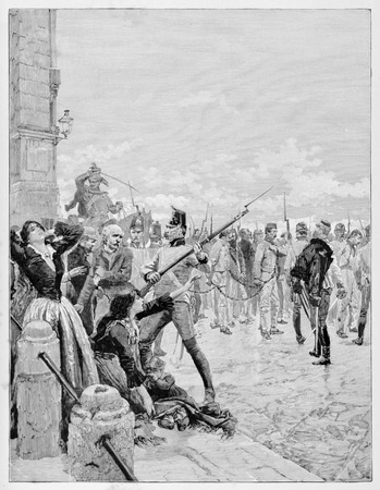 Old illustration of Belfiore martyrs, death sentenced by Austrian governor Joseph Radetzky, chained and led to the slaughter in Mantua, 1853.
