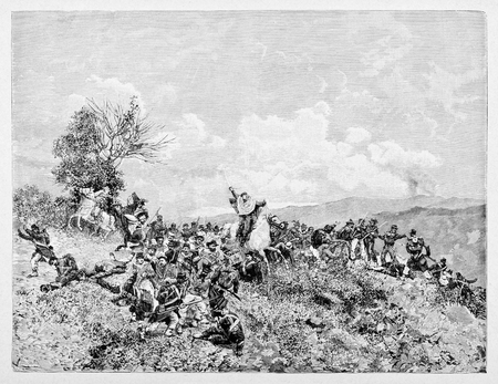 Old illustration of Milazzo battle, Sicily, between the Thousand of Garibaldi and Bourbon army.