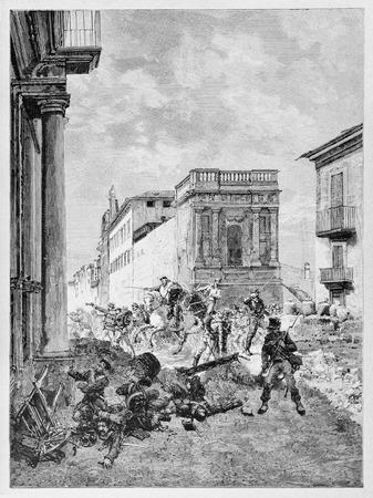 Old illustration of Garibaldi fighting in Palermo. Editorial