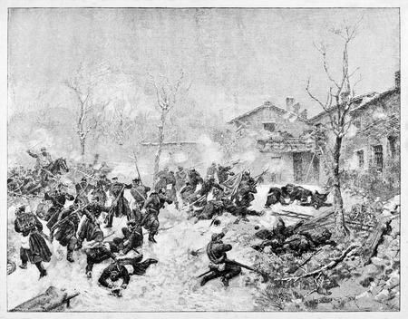 Old illustration of Dijon battle in 1871 by troops led by Garibaldi.