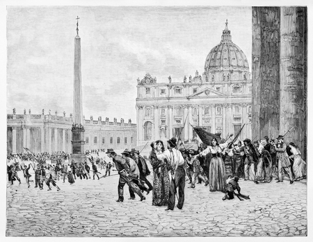 Old view of  San Peters square, Rome, at sunrise April 30, 1849: preparing the resistance against the French troops.