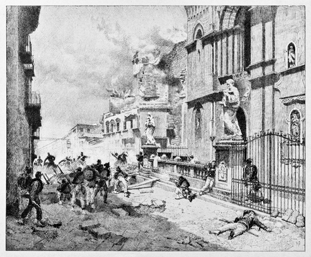 Old illustration of Palermo bombing during the insurrection for Garibaldi arrival.