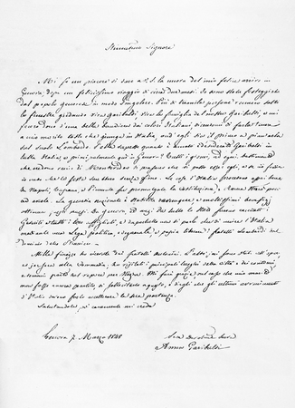 old photo: Old reproduction of a letter from Anita to Stefano Antonini Stock Photo