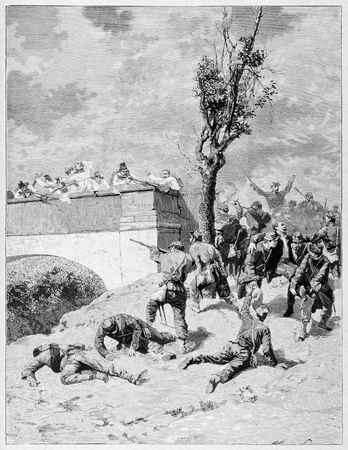 Old illustration of Narcissus Bronzetti baudly wounded in Treponti combat (he will die in Brescia two days later). Imagens