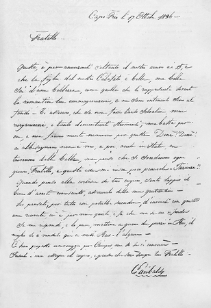Old reproduction of a letter from Garibaldi to G.B.B. Cuneo