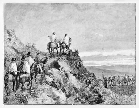 ascent: Old illustration of Garibaldi retreat on Monte Luna, leaving Rome. Stock Photo