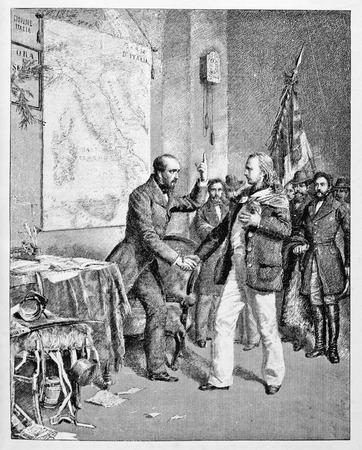 Alte Illustration des ersten Treffens von Garibaldi und Mazzini. Standard-Bild - 86557792