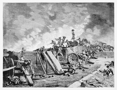 Old illustration of Roman artillery battery succesfully fighting against French army along Aurelian walls, Rome, in 1849. Banco de Imagens