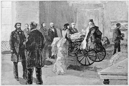 old fashioned: Old illustration of Garibaldi in his room in Posillipo, Naples.