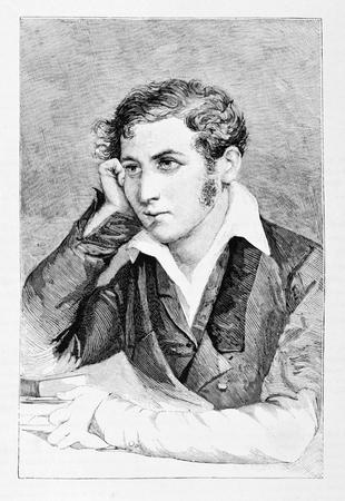 Oud gegraveerd portret van jonge Carlo Cattaneo, Italiaanse schrijver en patriot. Stockfoto