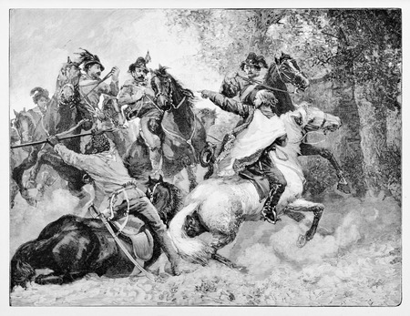 Old illustration depicting Garibaldi and Anghiar directing cavalry towards Bourbons troops near Velletri, Italy.