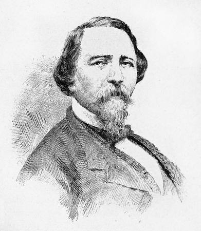 Old engraved portrait of Giuseppe La Masa, Italian patriot and politician.