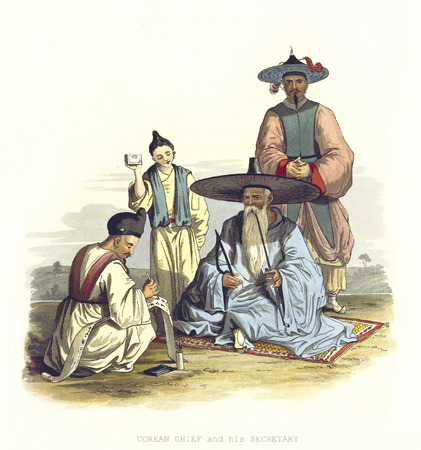 Old illustration of Corean chief and his secretary.
