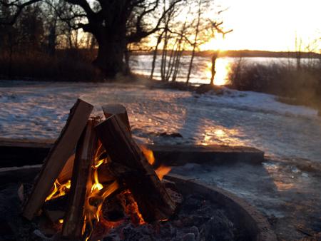 Campefire in early spring, Mälaren Sweden