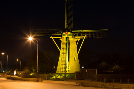 nightview: Nightview on Windmill at Domburg  Netherlands Stock Photo