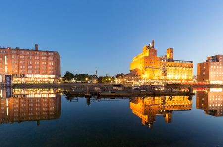 rhine westphalia: Awesome Water Reflections at Illuminated Inner Harbor Duisburg