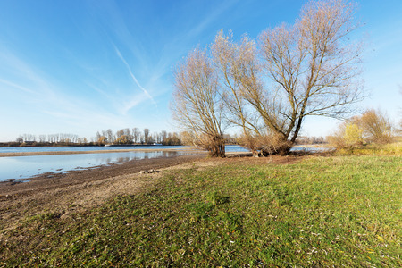 River Rhine partly flooding the Dunes at Monheim Germany