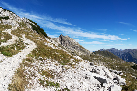 steep: Steep Hiking Trail on Nebelhorn Mountain Bavaria Stock Photo