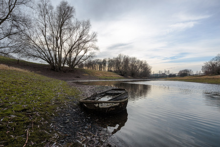 aground: Boat aground at Lake nearby Duisburg Germany