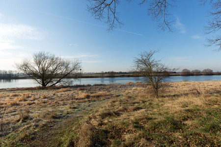 Tranquil Winter Impression at River Maas  Netherlands Stock Photo