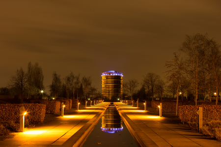 approx: Oberhausen, North Rhine Westphalia, Germany - February 21, 2017 at approx. 7.30 pm : Illuminated OLGA-Park with former Gasholder Editorial