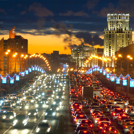 night traffic: Moscow lights Stock Photo