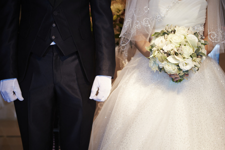 vows: Groom and bride