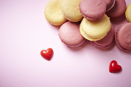patisserie: Macaroons with heart object