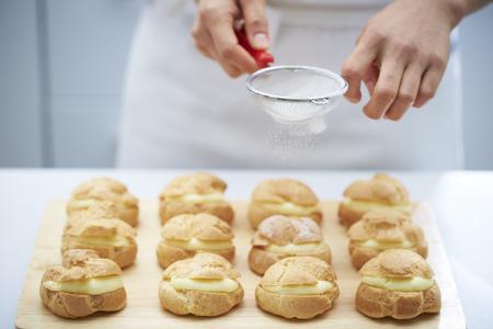 puffs: Icing on cream puffs