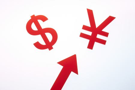 Currency symbols with arrow Stock Photo