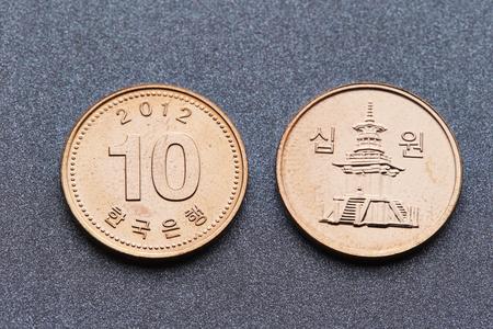 Korean won coins Stock Photo - 74580489