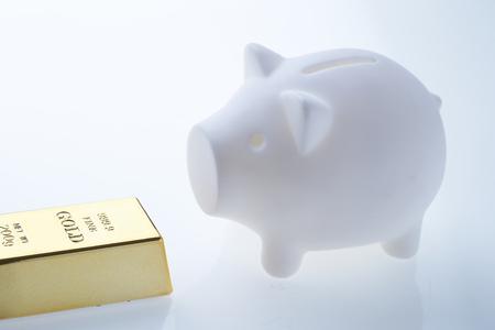 Piggy bank with gold bar
