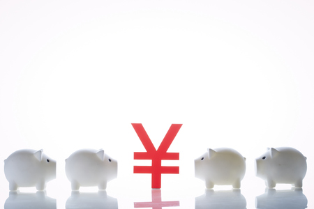 Piggy banks with currency symbol