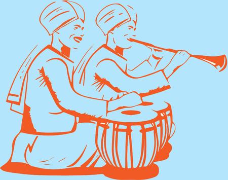 flauta: Los jugadores de flauta tradicional india del jugador de flauta Vectores