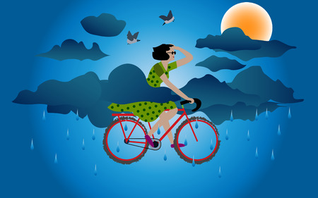 sunsets: A Girl on Cycle in rainy weather